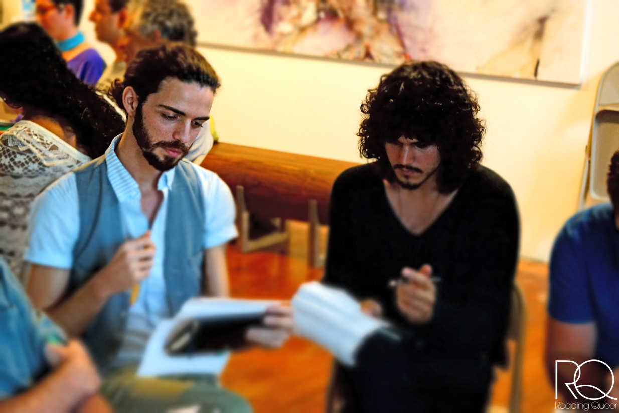 José Portela (left) & Emanuel (Emi) Ribas (right) create poem-drawings during RQ's creative writing workshop.