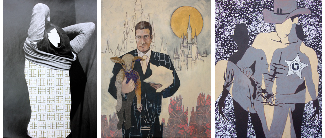 "From left to right: ""Cody"" (embroidery on silver gelatin prints), ""Have-and-Hold"" (mixed media on canvas) and ""Please Allow Us to Thank You For The Privilege Of Fulfilling Your Every Desire""."